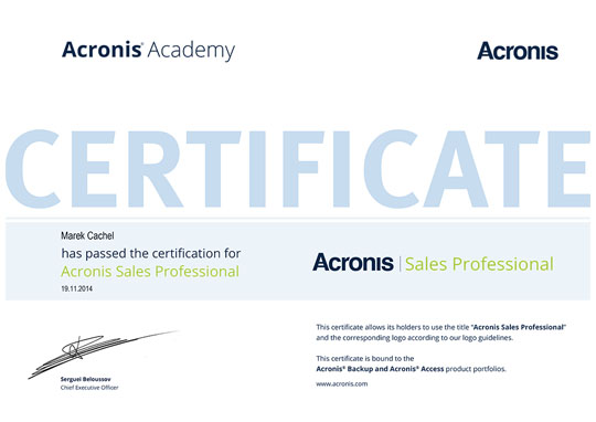 Acronis Academy Sales Professional